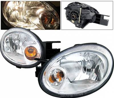 Headlights & Tail Lights - Headlights - 4 Car Option - Dodge Neon 4 Car Option Headlights - Chrome - LH-DN03C-KS