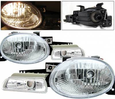 Headlights & Tail Lights - Headlights - 4 Car Option - Dodge Neon 4 Car Option Headlights with Parking Light Chrome - LH-DN95C-KS