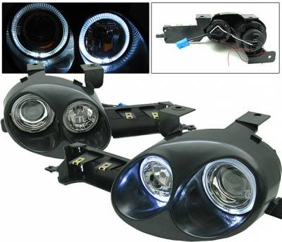 Headlights & Tail Lights - Headlights - 4 Car Option - Dodge Neon 4 Car Option Ralli-Style Halo Projector Headlights - LH-DN95P