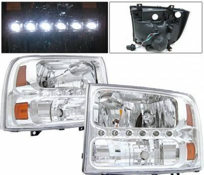 Headlights & Tail Lights - Headlights - 4 Car Option - Ford Superduty 4 Car Option LED Headlights - Chrome - 1PC - LH-FEC00LEDC-KS