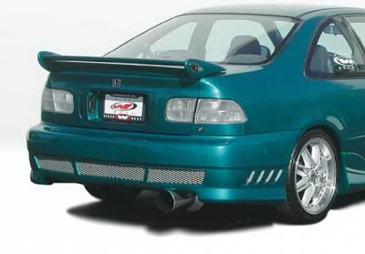 Civic 2Dr - Rear Bumper - Wings West - Honda Civic 2DR & 4DR Wings West Avenger Rear Bumper Cover - 890582