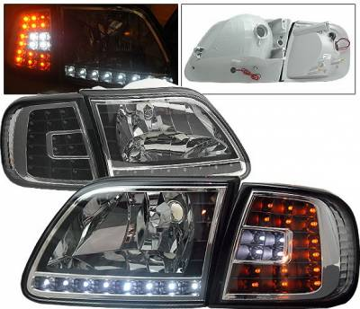 Headlights & Tail Lights - Headlights - 4CarOption - Ford F150 4CarOption LED Headlights - LH-FF15097LEDJB-6