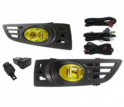 Headlights & Tail Lights - Fog Lights - 4 Car Option - Honda Accord 2DR 4 Car Option Fog Light Kit - Yellow - LHF-HA032-YL