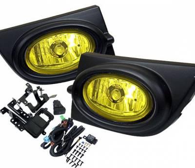 Headlights & Tail Lights - Fog Lights - 4 Car Option - Honda Civic 4DR 4 Car Option Fog Light Kit - Yellow - LHF-HC064YL
