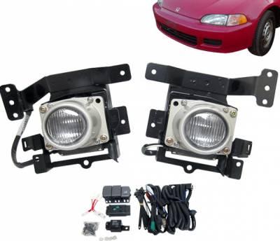 Headlights & Tail Lights - Fog Lights - 4 Car Option - Honda Civic 4DR 4 Car Option Fog Light Kit - Clear - LHF-HC924C