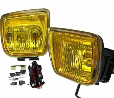 Headlights & Tail Lights - Fog Lights - 4 Car Option - Honda Civic 4DR 4 Car Option Square Fog Light Kit - Yellow - LHF-HC964YL