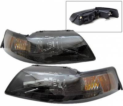 Headlights & Tail Lights - Headlights - 4 Car Option - Ford Mustang 4 Car Option Headlights - Smoke Amber Reflector - LH-FM99SMA-2