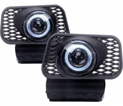 Headlights & Tail Lights - Fog Lights - 4 Car Option - Chevrolet Silverado 4 Car Option Halo Projector Fog Light Kit - Clear - LHFP-CSV03C-WJ