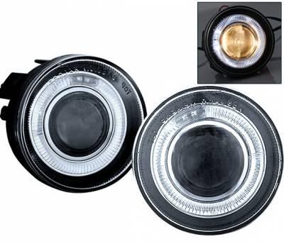 Headlights & Tail Lights - Fog Lights - 4 Car Option - Dodge Dakota 4 Car Option Halo Projector Fog Light Kit - Clear - LHFP-DD01C-WJ