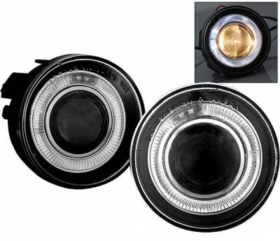 Headlights & Tail Lights - Fog Lights - 4 Car Option - Dodge Dakota 4 Car Option Halo Projector Fog Light Kit - Smoke - LHFP-DD01SM-WJ