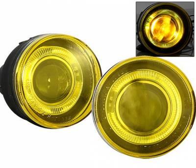 Headlights & Tail Lights - Fog Lights - 4 Car Option - Dodge Dakota 4 Car Option Halo Projector Fog Light Kit - Yellow - LHFP-DD01YL-WJ
