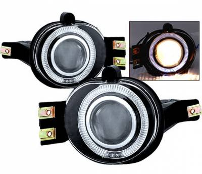 Headlights & Tail Lights - Fog Lights - 4 Car Option - Dodge Ram 4 Car Option Halo Projector Fog Light Kit - Clear - LHFP-DR02C-WJ