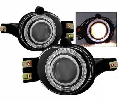 Headlights & Tail Lights - Fog Lights - 4 Car Option - Dodge Ram 4 Car Option Halo Projector Fog Light Kit - Smoke - LHFP-DR02SM-WJ