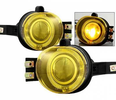 Headlights & Tail Lights - Fog Lights - 4 Car Option - Dodge Ram 4 Car Option Halo Projector Fog Light Kit - Yellow - LHFP-DR02YL-WJ