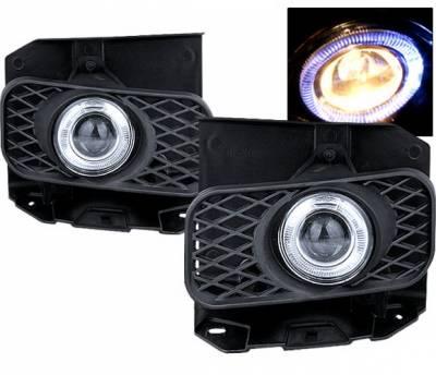 Headlights & Tail Lights - Fog Lights - 4 Car Option - Ford F150 4 Car Option Halo Projector Fog Light Kit - Clear - LHFP-FF15099C-WJ