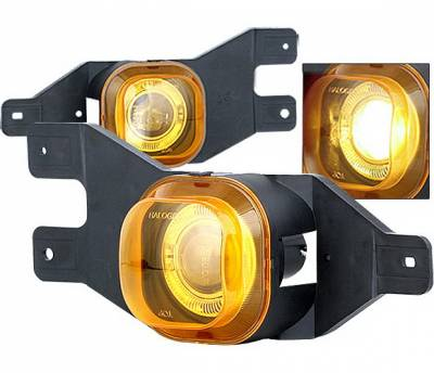 Headlights & Tail Lights - Fog Lights - 4 Car Option - Ford F250 4 Car Option Halo Projector Fog Light Kit - Yellow - LHFP-FF25099YL-WJ