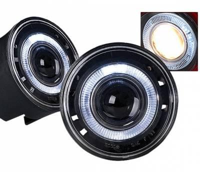 Headlights & Tail Lights - Fog Lights - 4 Car Option - Jeep Grand Cherokee 4 Car Option Halo Projector Fog Light Kit - Clear - LHFP-JGC04C-WJ