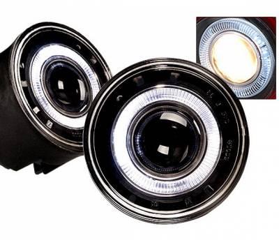 Headlights & Tail Lights - Fog Lights - 4 Car Option - Jeep Grand Cherokee 4 Car Option Halo Projector Fog Light Kit - Smoke - LHFP-JGC04SM-WJ