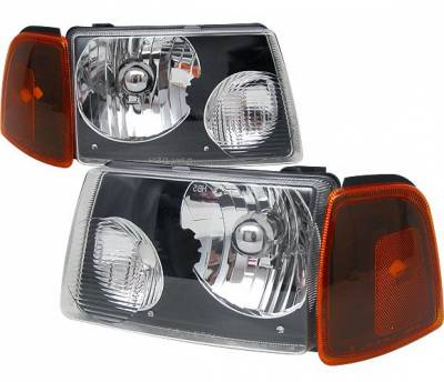 Headlights & Tail Lights - Headlights - 4 Car Option - Ford Ranger 4 Car Option Diamond Headlights - Black - LH-FR01B