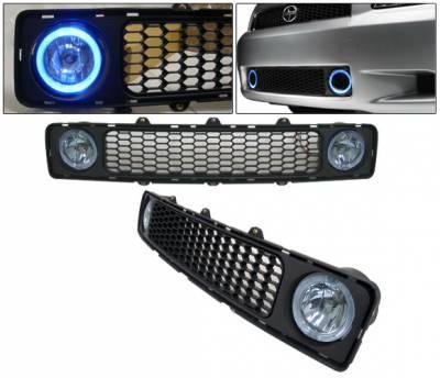Grilles - Custom Fit Grilles - 4 Car Option - Scion tC 4 Car Option Grille with Fog Light Kit - Blue Halo - LHF-TS003HB