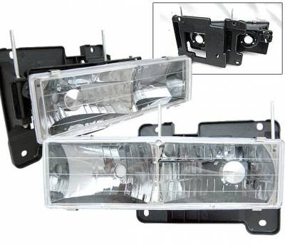 Headlights & Tail Lights - Headlights - 4 Car Option - GMC C10 4 Car Option Headlights - Crystal - LH-GC88CC-2