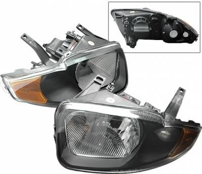 Headlights & Tail Lights - Headlights - 4 Car Option - Chevrolet Cavalier 4 Car Option Headlights - Black with Amber Reflector - LH-GCA03BC-KS