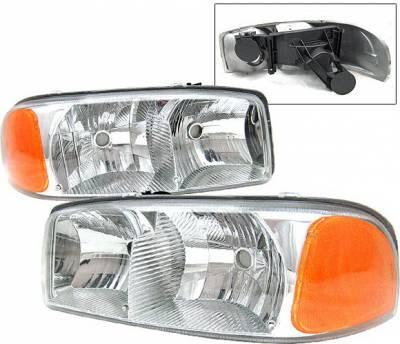 Headlights & Tail Lights - Headlights - 4 Car Option - GMC Yukon 4 Car Option Headlights - Chrome - LH-GY00C-9