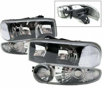 Headlights & Tail Lights - Headlights - 4 Car Option - GMC Sierra 4 Car Option Headlights - Black - LH-GY00JB-6