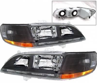 Headlights & Tail Lights - Headlights - 4 Car Option - Honda Accord 4 Car Option JDM Headlights - Black - LH-HA98B