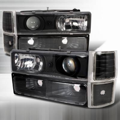 Headlights & Tail Lights - Headlights - Custom Disco - Chevrolet C10 Custom Disco Black Projector Headlights - 8PC - LBCLHP-C1094JM