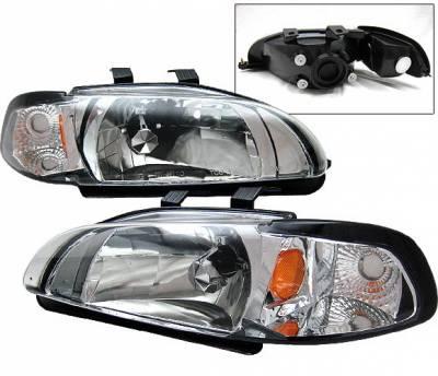 Headlights & Tail Lights - Headlights - 4 Car Option - Honda Civic 2DR 4 Car Option Headlights - Chrome - 1PC - LH-HC923C-1-A