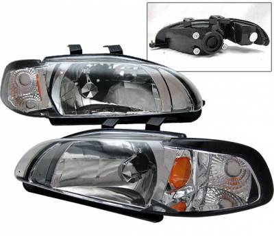 Headlights & Tail Lights - Headlights - 4 Car Option - Honda Civic 4DR 4 Car Option Headlights - Chrome - 1PC - LH-HC924C-1