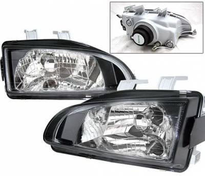 Headlights & Tail Lights - Headlights - 4 Car Option - Honda Civic 4 Car Option Headlights - Black - LH-HC92B