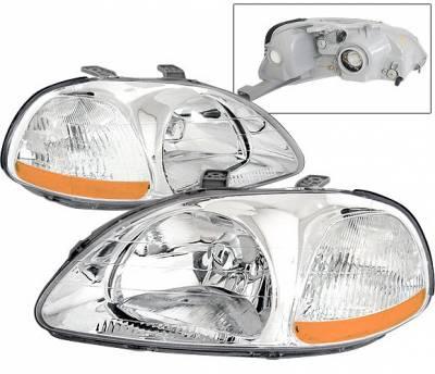 Headlights & Tail Lights - Headlights - 4 Car Option - Honda Civic 4 Car Option JDM Headlights - Chrome - LH-HC96C-KS-A