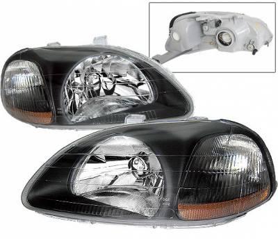Headlights & Tail Lights - Headlights - 4 Car Option - Honda Civic 4 Car Option JDM Headlights - Black - LH-HC96JDM