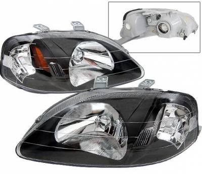 Headlights & Tail Lights - Headlights - 4 Car Option - Honda Civic 4 Car Option JDM Headlights - Black - LH-HC99B