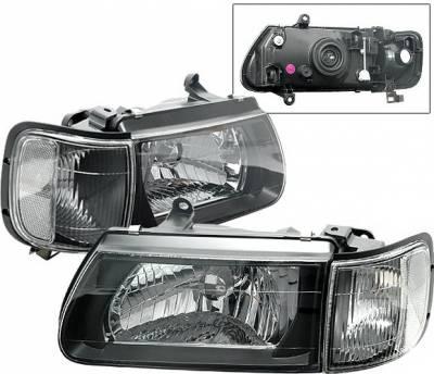 Headlights & Tail Lights - Headlights - 4 Car Option - Honda Passport 4 Car Option Headlights - Black Clear - LH-IRD00BC-KS