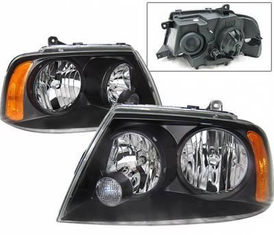 Headlights & Tail Lights - Headlights - 4 Car Option - Lincoln Navigator 4 Car Option Headlights - Black - LH-LN03B-KS