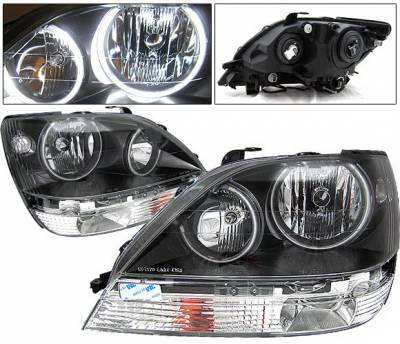 Headlights & Tail Lights - Headlights - 4 Car Option - Lexus RX 4 Car Option Halo Headlights - Black - LH-LRX301B-KS