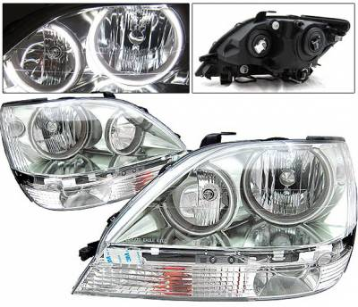 Headlights & Tail Lights - Headlights - 4 Car Option - Lexus RX 4 Car Option Halo Headlights - Chrome - LH-LRX301C-KS