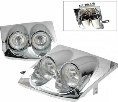 Headlights & Tail Lights - Headlights - 4 Car Option - Nissan 240SX 4 Car Option Dual Halo Headlights - Chrome - LH-N240SX89C