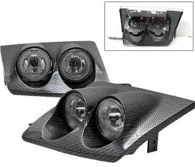 Headlights & Tail Lights - Headlights - 4 Car Option - Nissan 200SX 4 Car Option Dual Halo Headlights - Carbon Fiber Style - LH-N240SX89CF