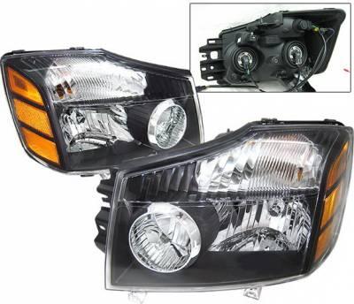 Headlights & Tail Lights - Headlights - 4 Car Option - Nissan Armada 4 Car Option Headlights - Black - LH-NTIT04B-KS