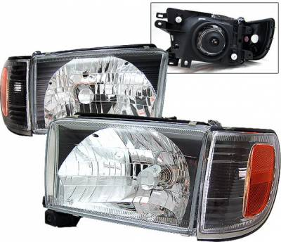 Headlights & Tail Lights - Headlights - 4 Car Option - Toyota 4Runner 4 Car Option Headlights - Black - LH-T496B-KS