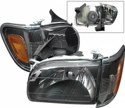 Headlights & Tail Lights - Headlights - 4 Car Option - Toyota Tacoma 4 Car Option Headlights - Black with Amber Reflector - LH-TTA01BC-KS