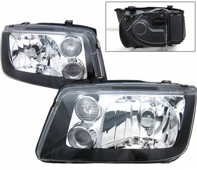 Headlights & Tail Lights - Headlights - 4 Car Option - Volkswagen Jetta 4 Car Option Headlights - Black - LH-VJ99B-KS