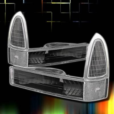 Headlights & Tail Lights - Corner Lights - Custom Disco - Ford F250 Custom Disco Black Corner Lights - LC-F25099JM-KS