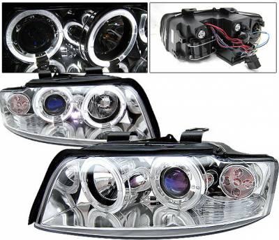 Headlights & Tail Lights - Headlights - 4 Car Option - Audi A4 4 Car Option LED Halo Projector Headlights - Chrome - 1PC - LP-AA401CB-YD