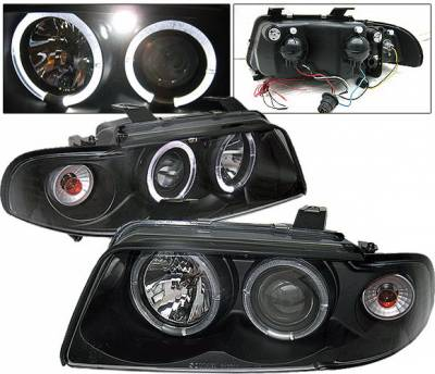 Headlights & Tail Lights - Headlights - 4 Car Option - Audi A4 4 Car Option LED Halo Projector Headlights - Black - 1PC - LP-AA495BB-YD