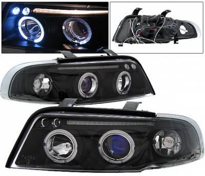 Headlights & Tail Lights - Headlights - 4 Car Option - Audi A4 4 Car Option LED Halo Projector Headlights - Black - 1PC - LP-AA496BB-5